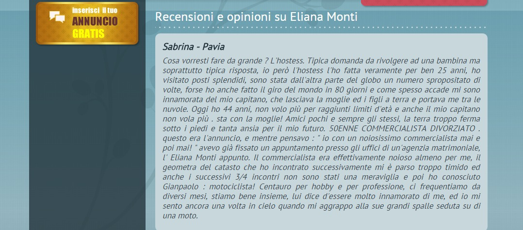 Eliana Monti recensioni e opinioni