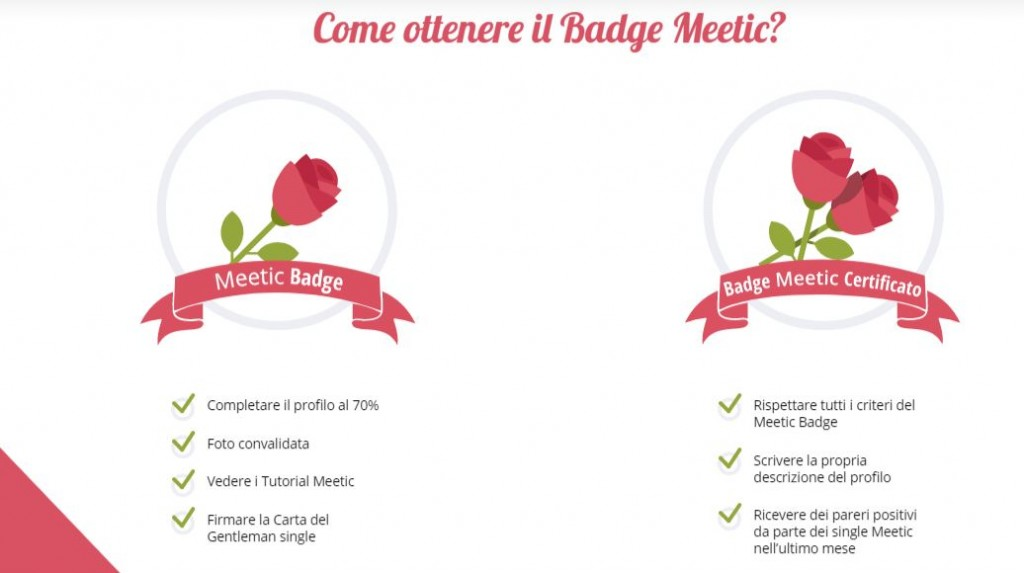 meetic badge certificato