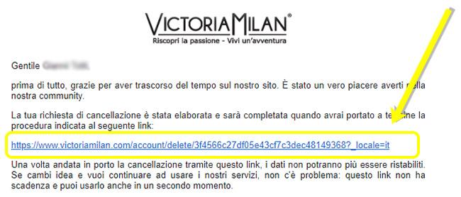 come cancellare account victoria milan